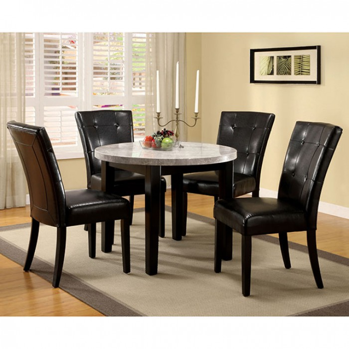 Marion I Espresso Marble Top Round, Round Marble Table Dining Set