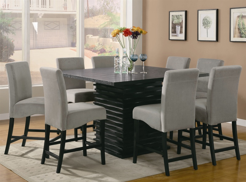 Black Counter Height Table Gray Chair, Nine Piece Dining Room Table Set