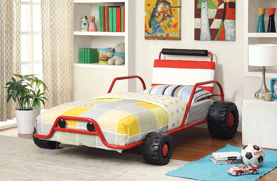 Turbo Racer Kids Race Car Red Metal Twin Bed