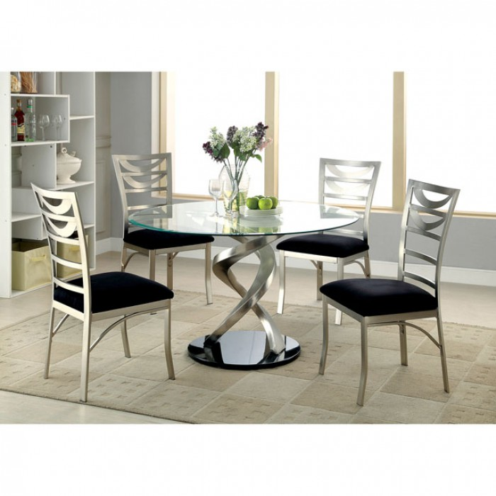 Roxo Contemporary Tempered Glass Top Dining Table Set