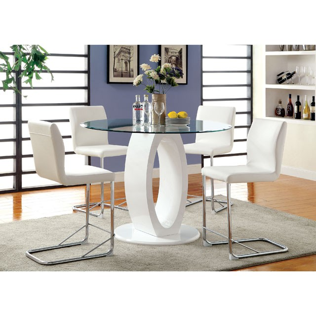 Lodia White Round Glass Top Counter Height Table Set Shop For