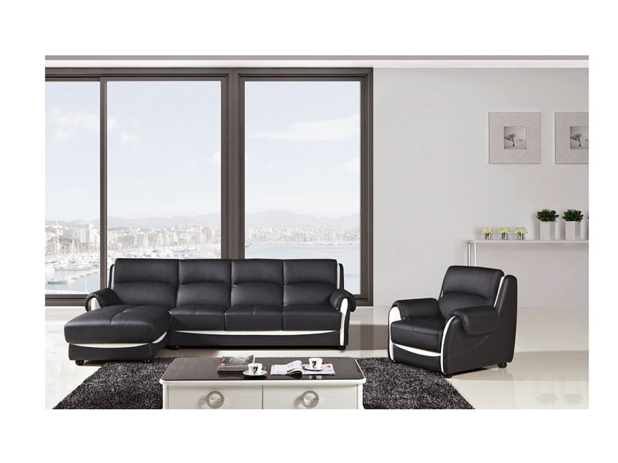Modern Black Faux Leather Sectional Sofa