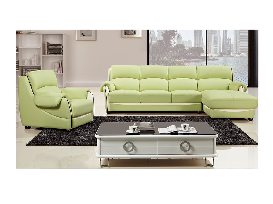 Modern Green Faux Leather Sectional Sofa