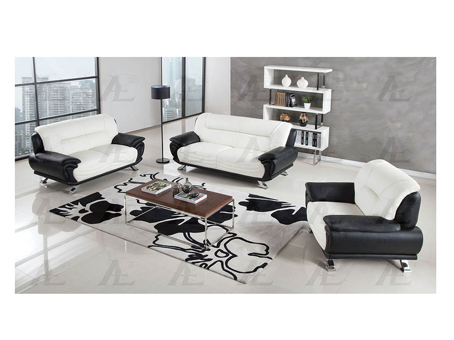 Modern 3Pcs Ivory Black Leather Sofa Set