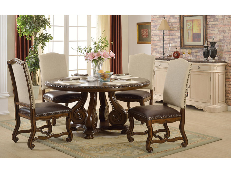 5pcs Brown Round Pedestal Dining Table Set Shop For Affordable Home Furniture Decor Outdoors And More