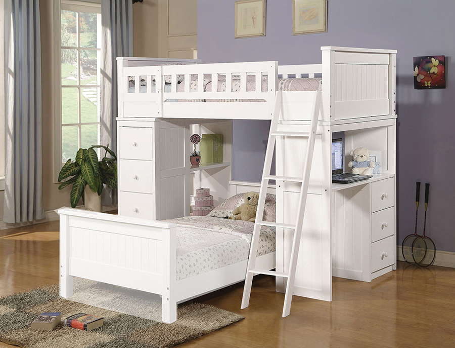 Inexpensive White Loft Bed With Desk
