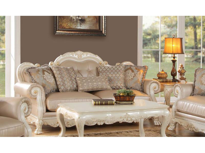 Dresden Antique White Sofa with 5 Pillows