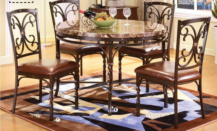 Burril Brown Faux Marble Top Metal Dining Table Set