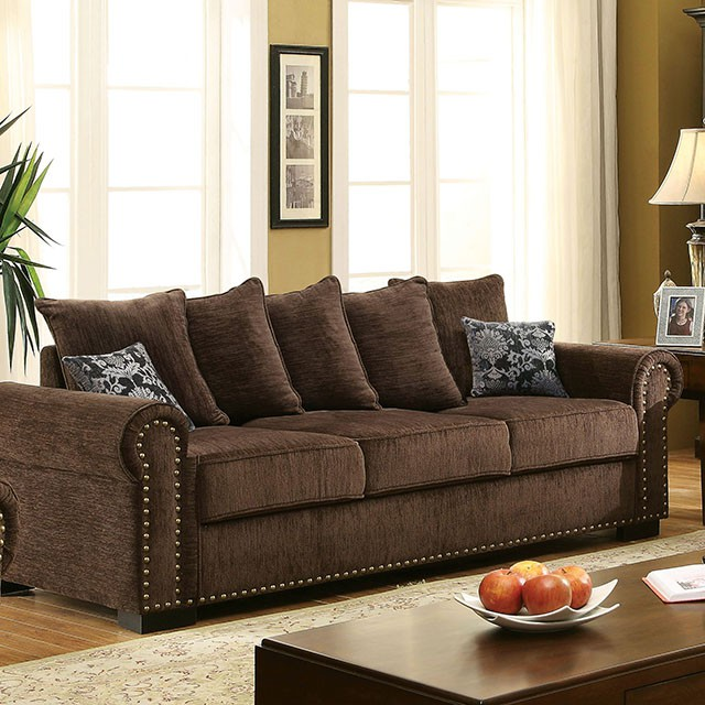 Rydel Brown Fabric Sofa Set For