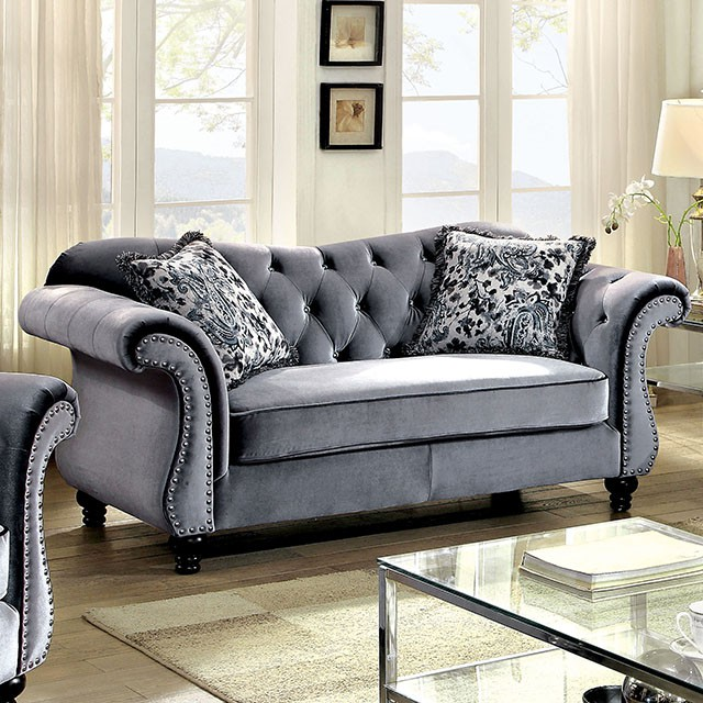 Jolanda Grey Sofa Set For