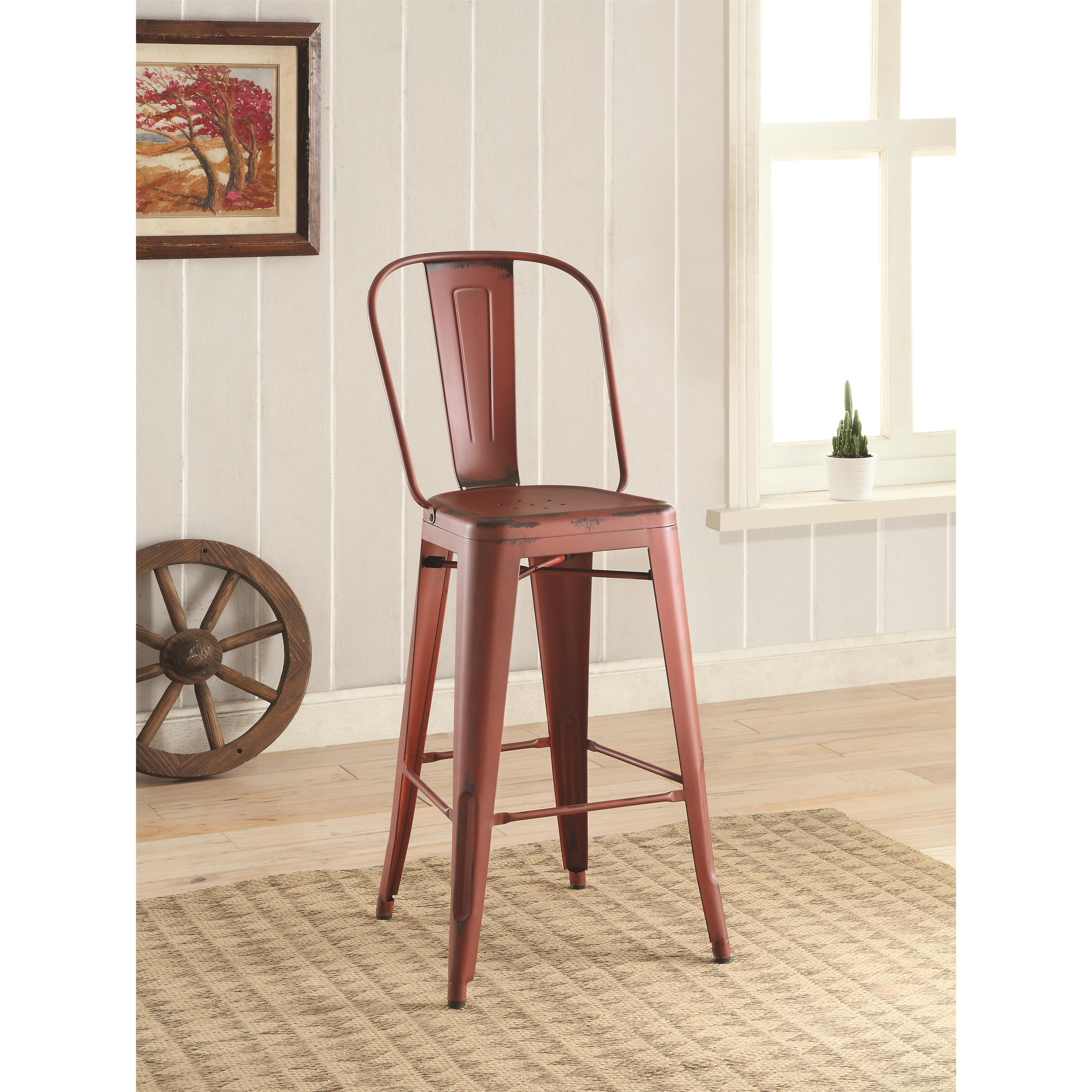 Picture of: 2pcs Contemporary Style Red Bar Stool Shop For Affordable Home Furniture Decor Outdoors And More