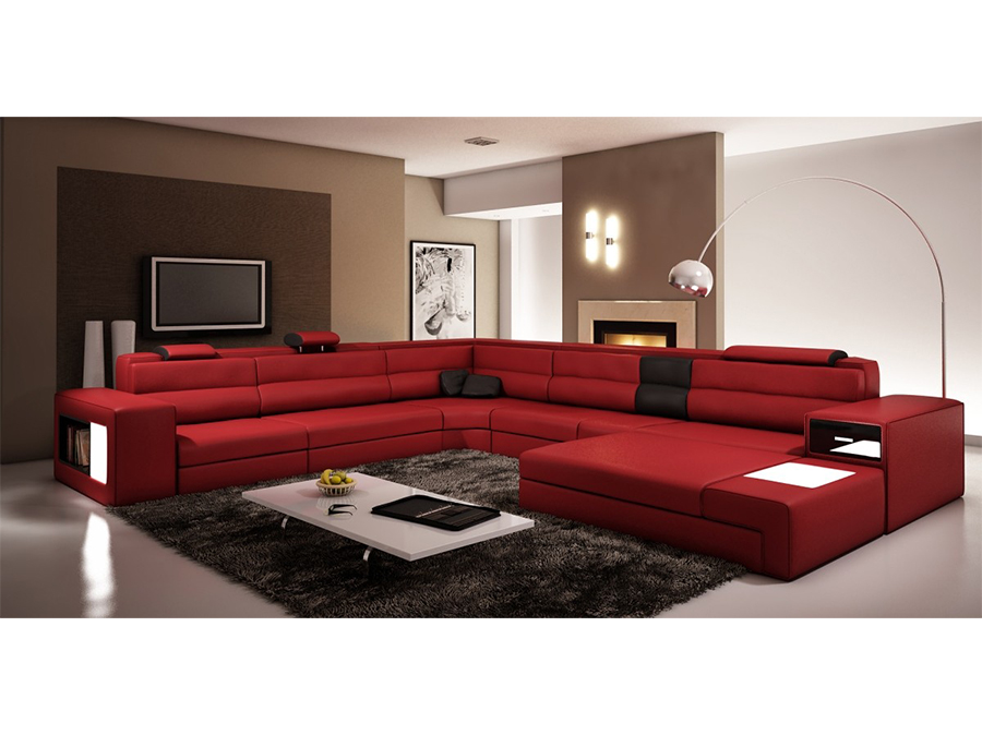 Dark Red Bonded Leather Sectional Sofa