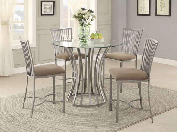 sodus 5pcs round metal counter height dining table set