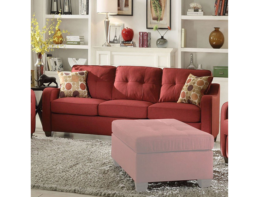 Cleavon Red Fabric Sofa