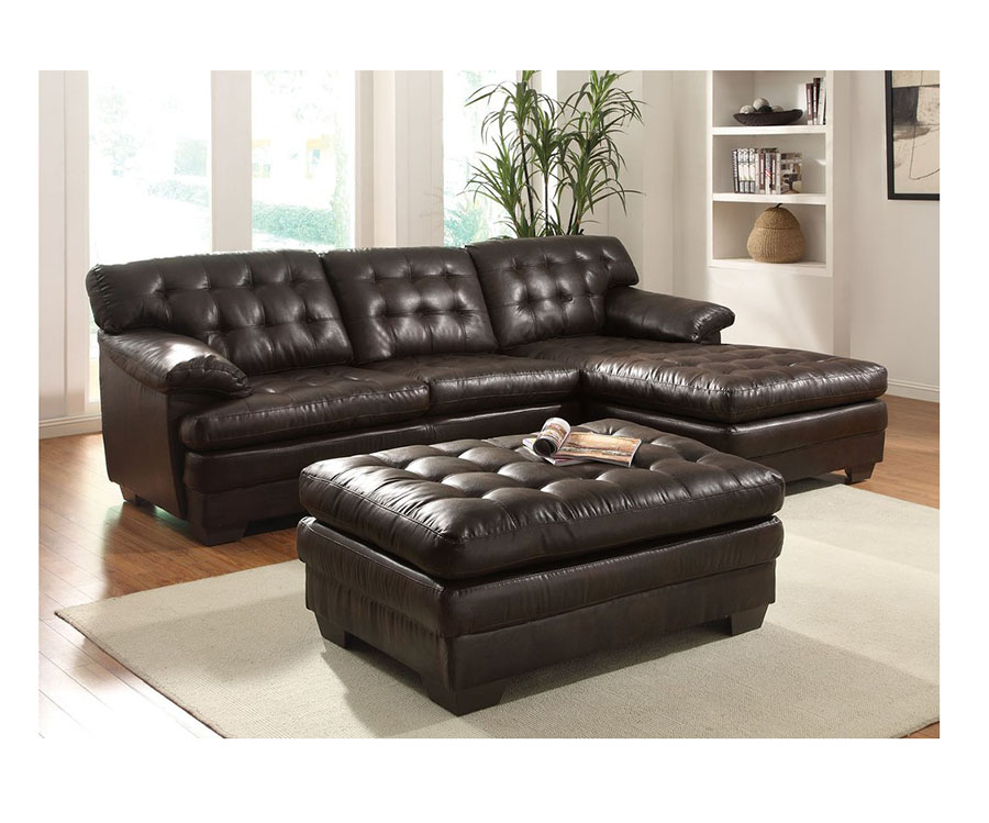2Pcs Nigel Dark Brown Leather Sectional Sofa Right Chaise