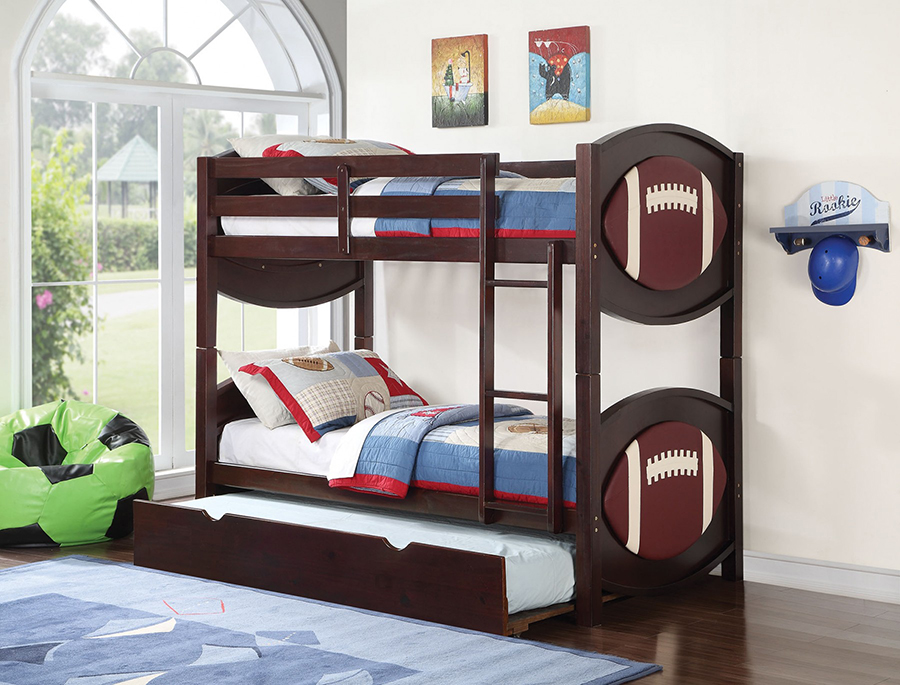 All Star Football Espresso Twin Twin Bunk Bed With Trundle Shop