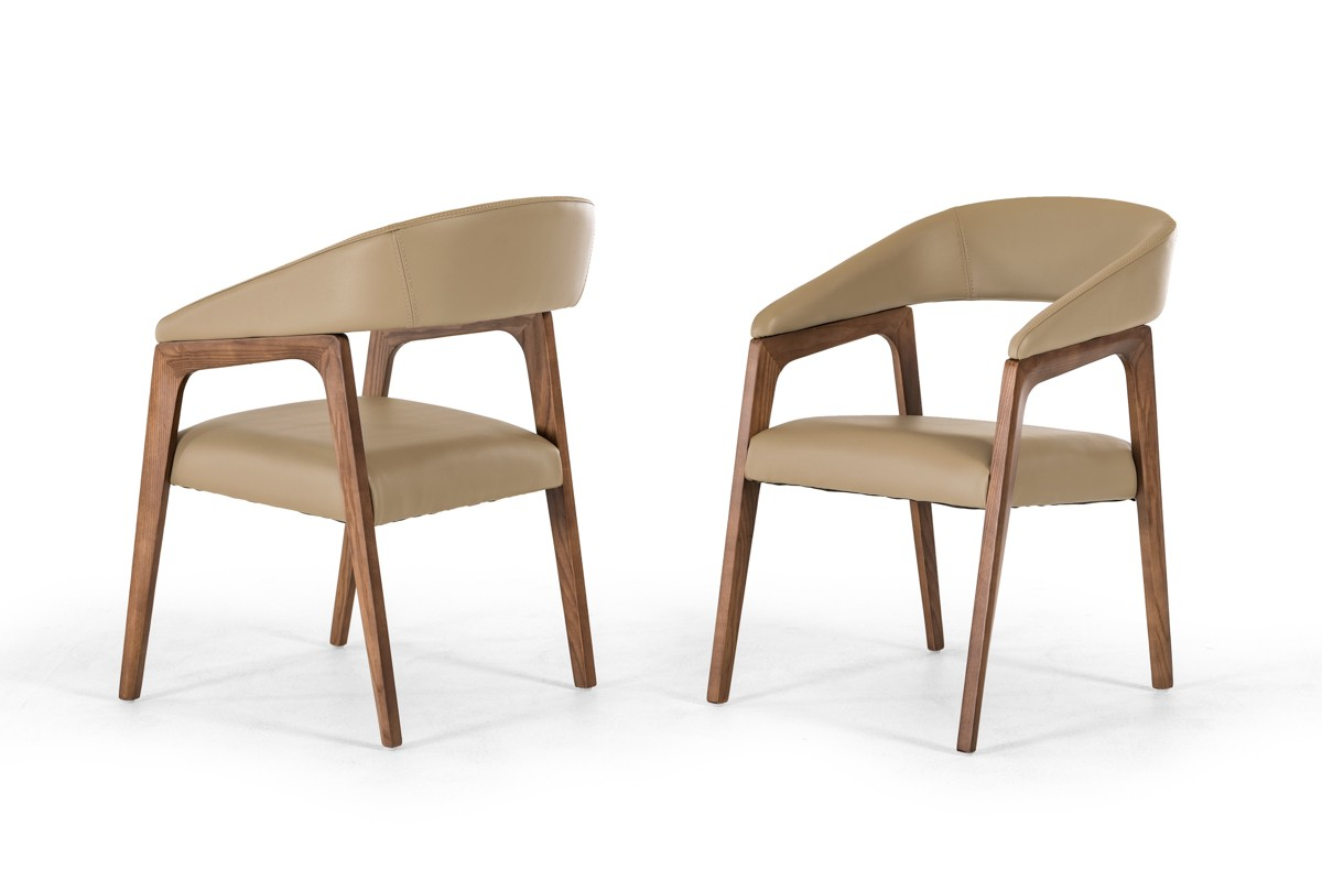 Taupe & Walnut Dining Chair