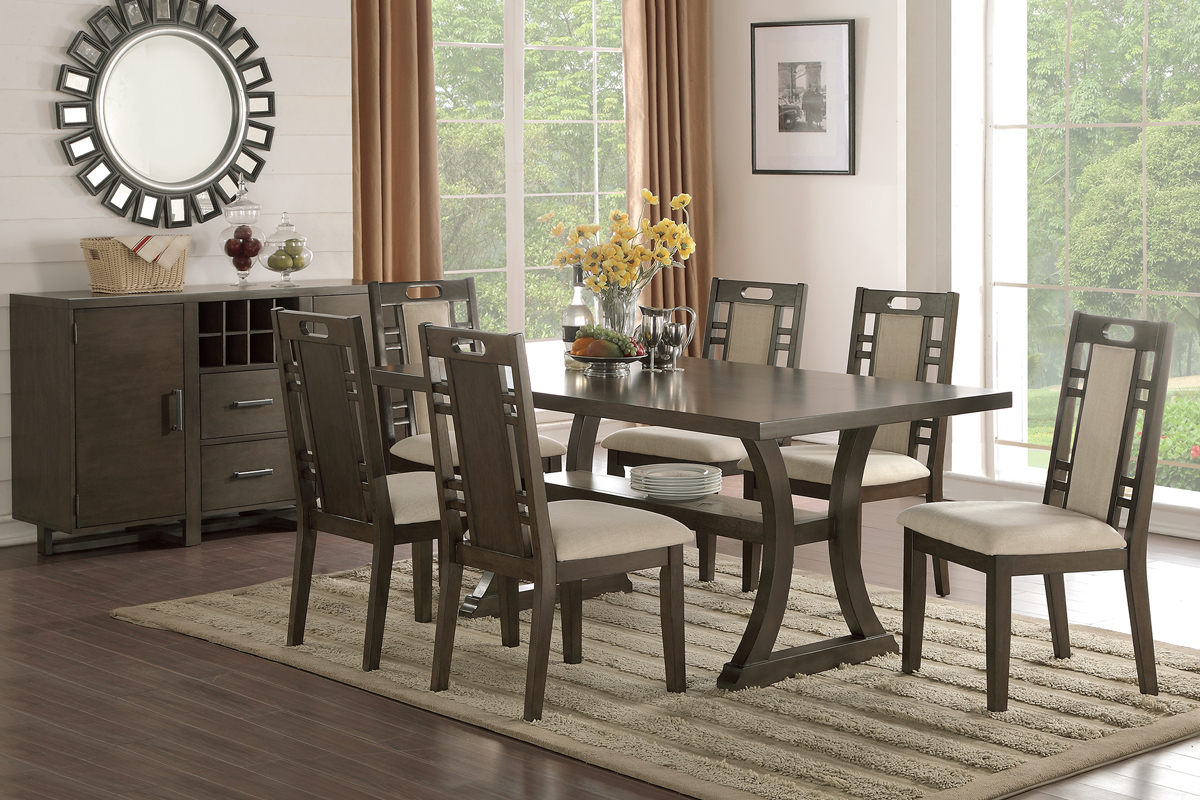 Rubber Wood Dining Set In Earthy Grey Hues