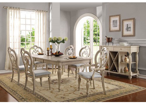 Abelin Antique White Dining Table Set