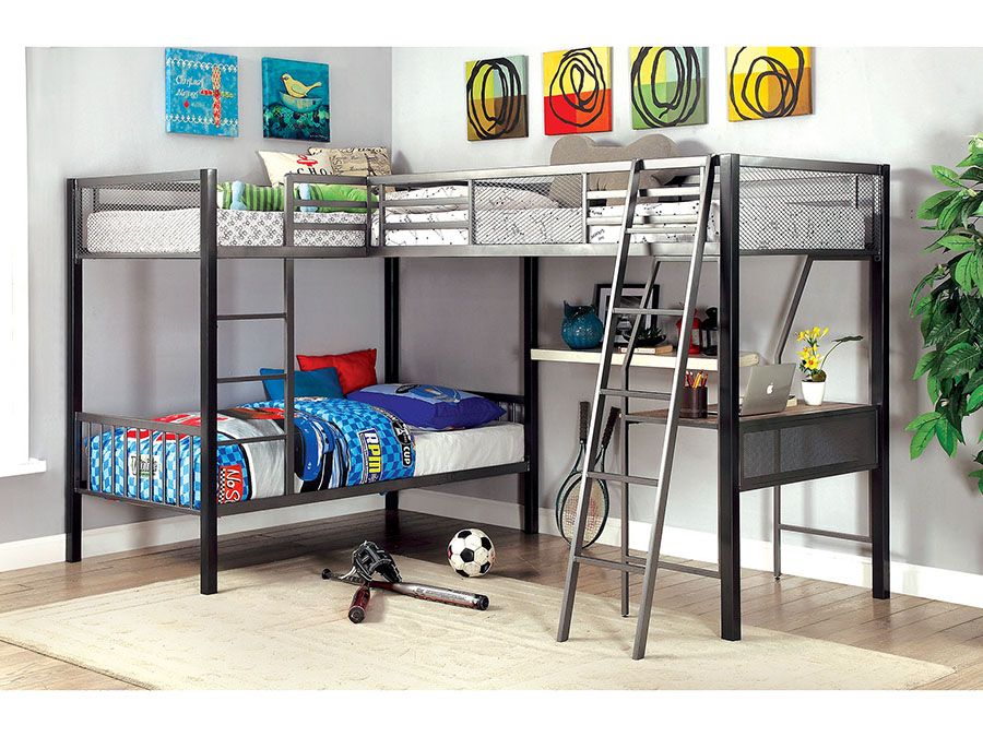 Ballarat L Shaped Triple Twin Bunk Bed In Silver Shop For