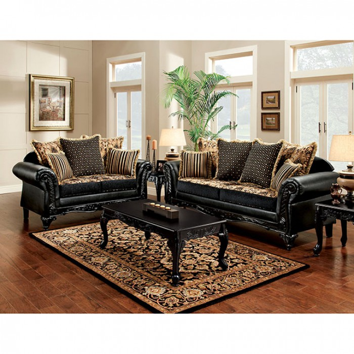 Theodora Black Tan Sofa Set For