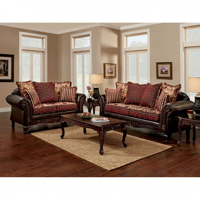 Ellis Brown/Burgundy Sofa Set