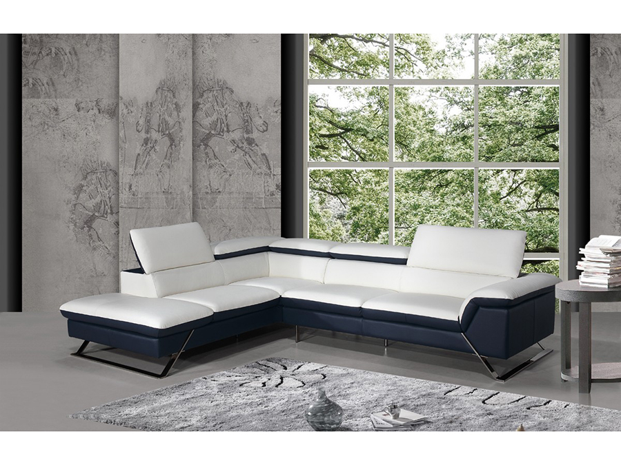 White & Blue Leather Sectional Sofa