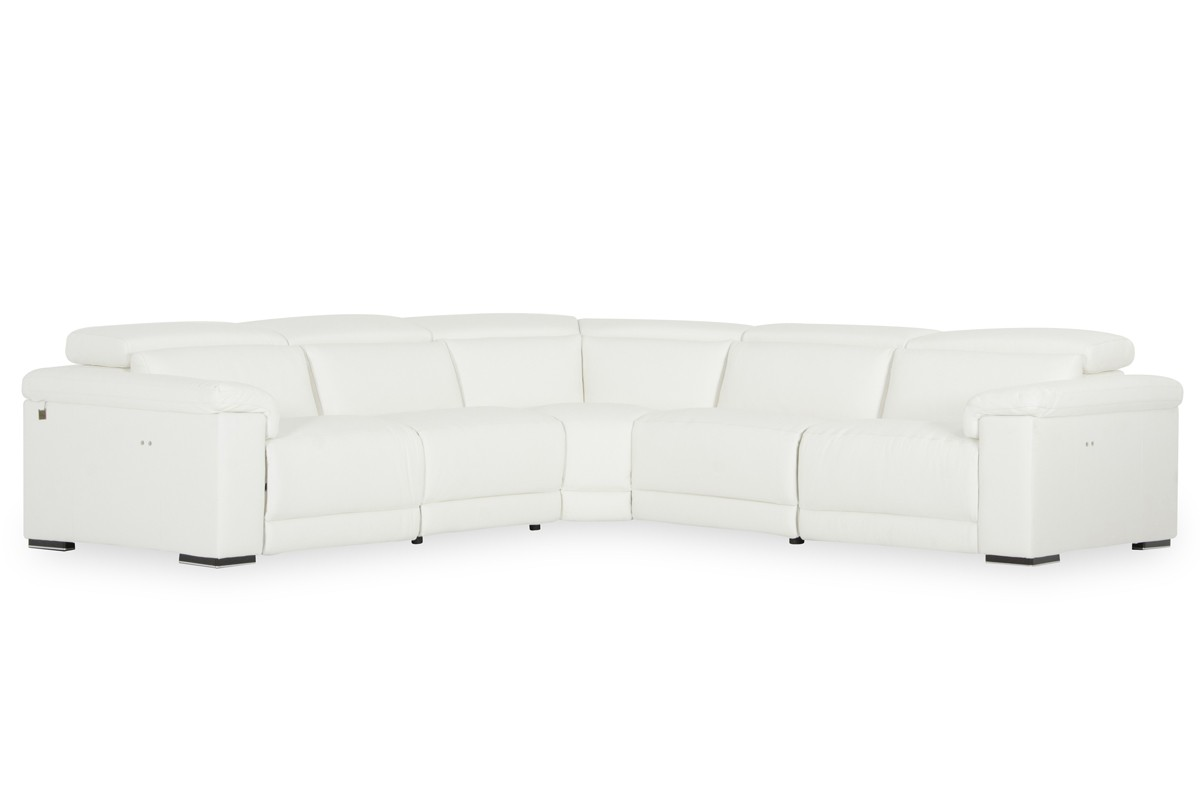 White Leather Sectional Sofa w/Recliners