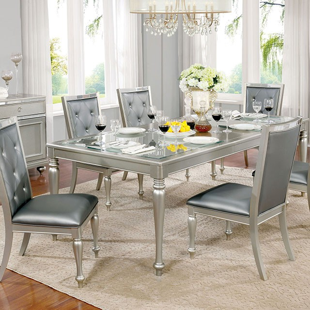 Sarina Silver Dining Table For, Silver Dining Room Ideas