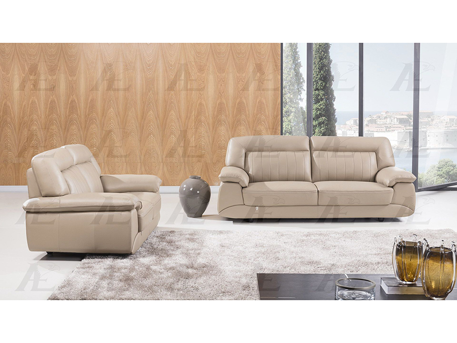 Tan Italian Leather Sofa Set For