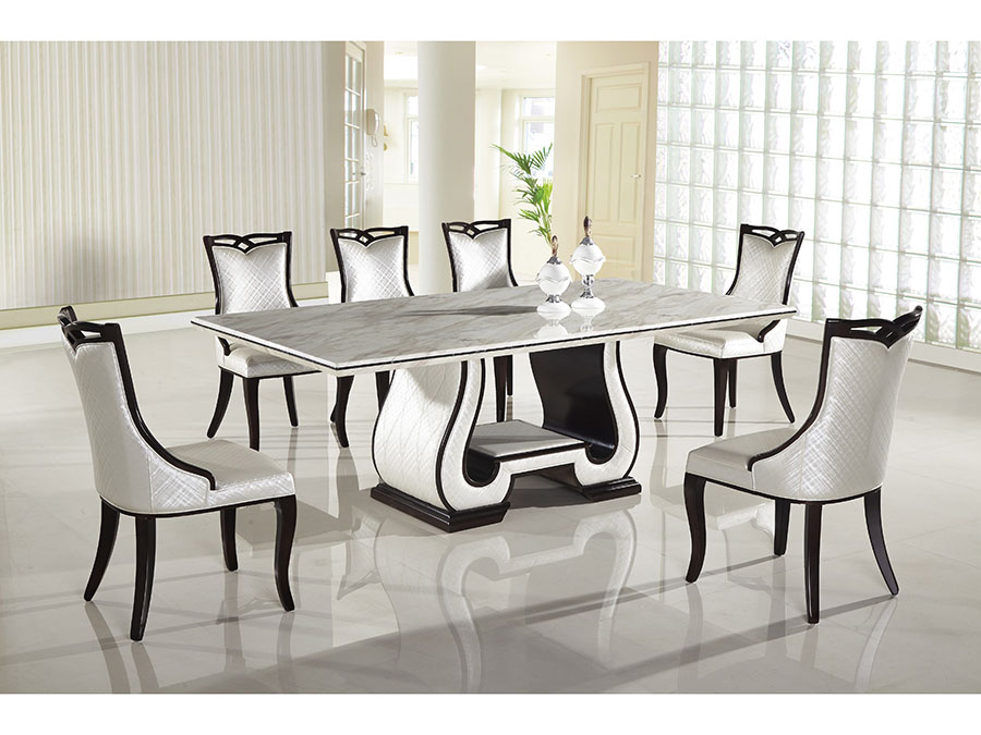 Black And White Marble Top Dining Set, Black And White Dining Room Set