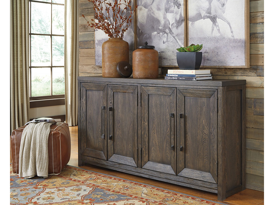 Reickwine Grayish Brown Casual Style Accent Cabinet