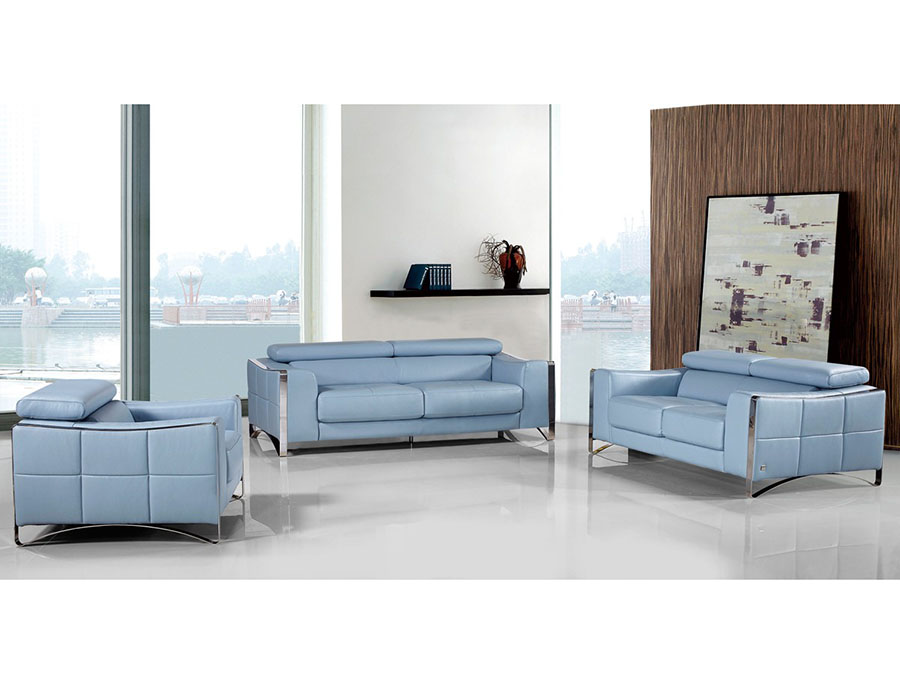 Light Blue Leather Sofa Set For