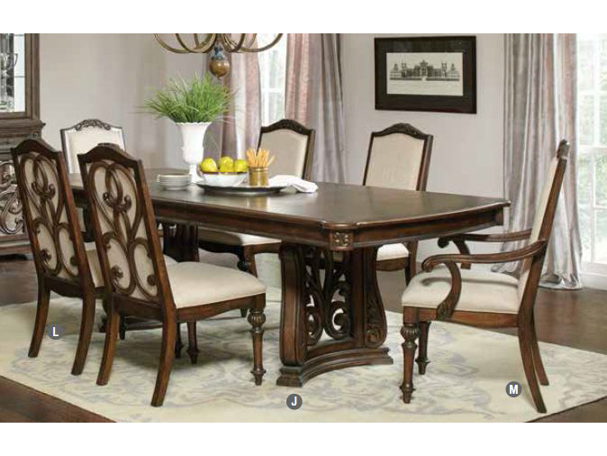 Antique Java Cream Fabric Trestle Dining Table Set Shop For Affordable Home Furniture Decor Outdoors And More