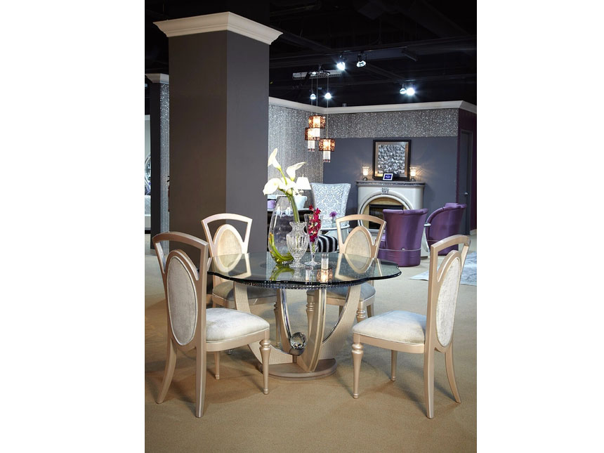 Cristal Beige 60 Round Glass Dining Table Set Shop For Affordable