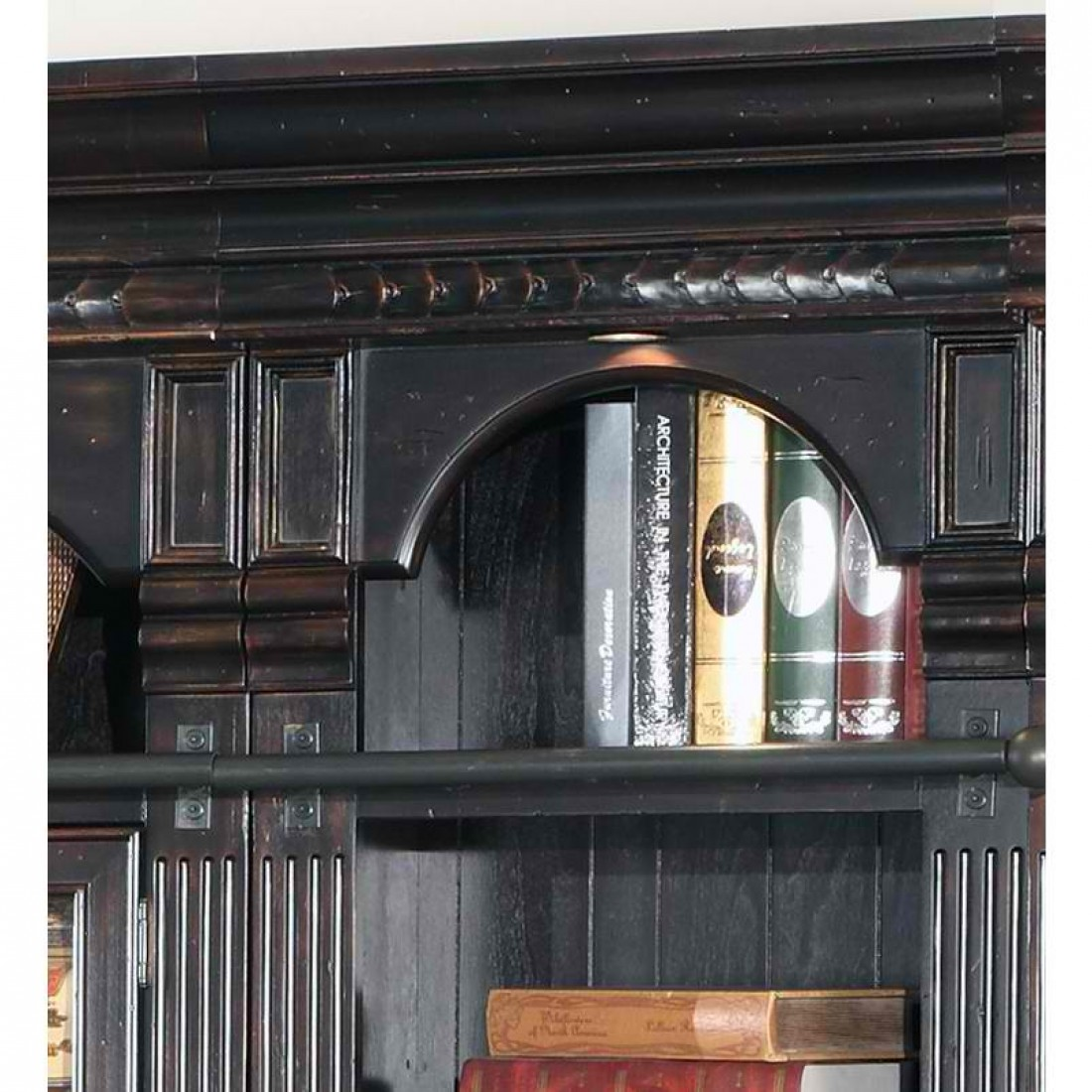 Venezia 5pcs Bookcase Library Wall W Ladder In Burnished Black