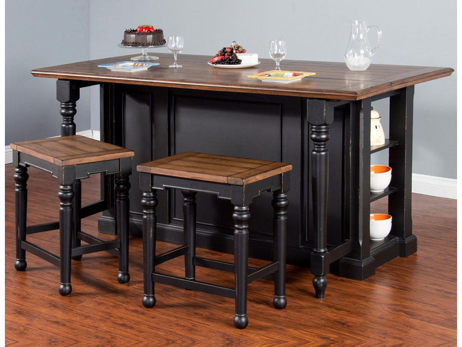 Bourbon Country Kitchen Island Set with Gate Leg
