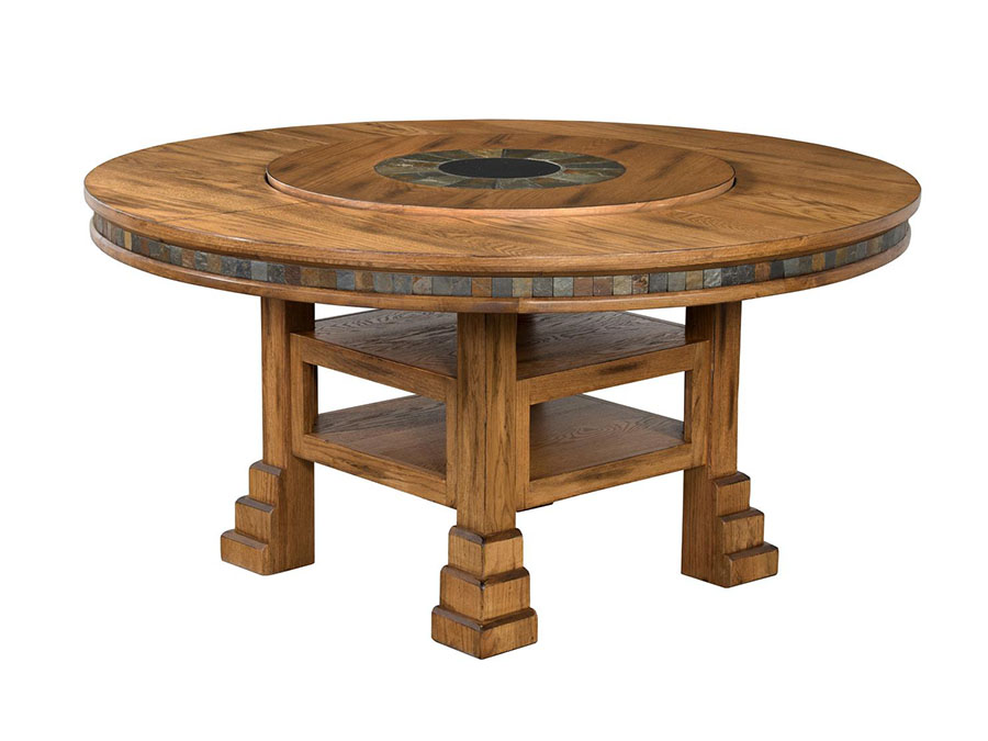 Santa Fe 60 Round Dual Height Table W Lazy Susan Set Shop For
