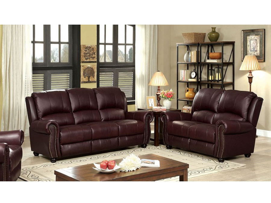 Turton Burgundy Sofa Set