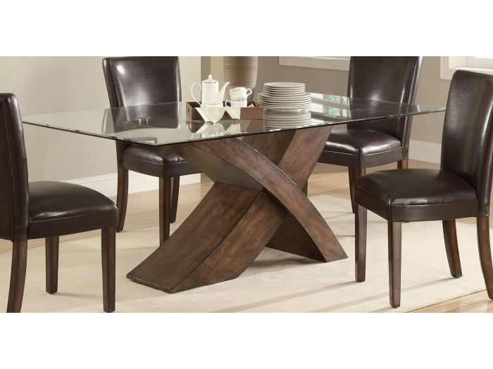Brown X Base Rectangular Glass Top Dining Table