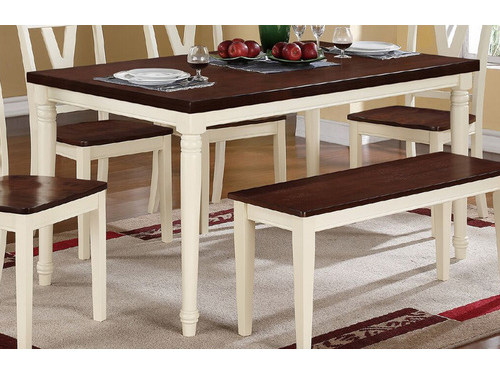 Creamy White Legs Cherry Wood Top Rectangular Dining Table
