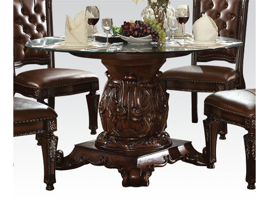 Vendome Round Glass Top Dining Table in Cherry