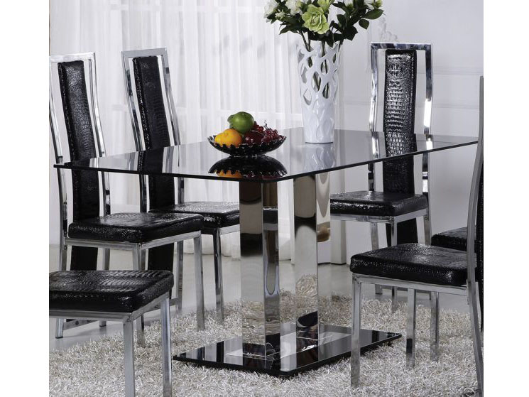 Jercy Chrome Black Glass Dining Table Shop For Affordable Home Furniture Decor Outdoors And More