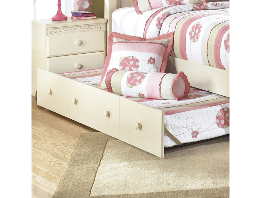 Cottage Retreat Cream Cottage Twin Poster Bed With Trundle