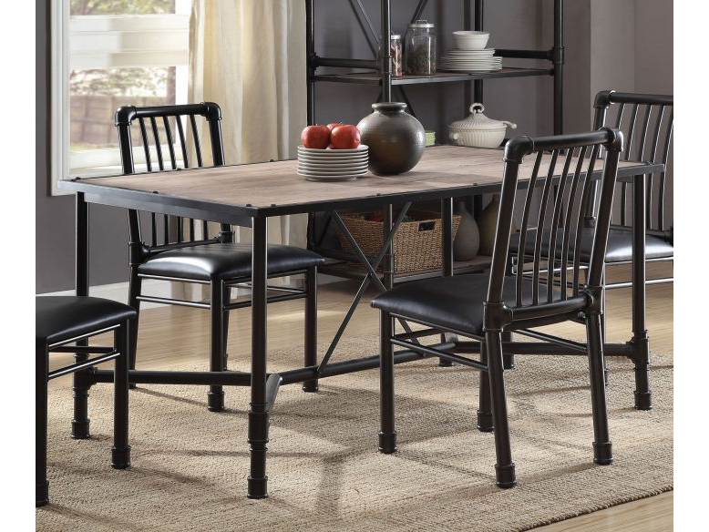 Caitlin Rustic Oak Black Metal Dining Table Shop For Affordable Home Furniture Decor Outdoors And More