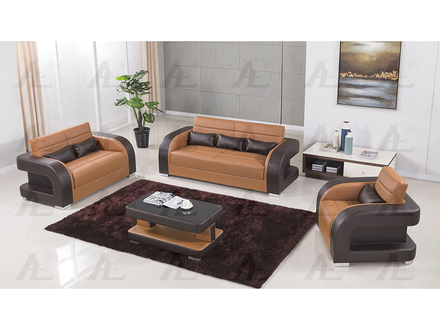 3Pcs Camel And Dark Brown Faux Leather Sofa Set ...