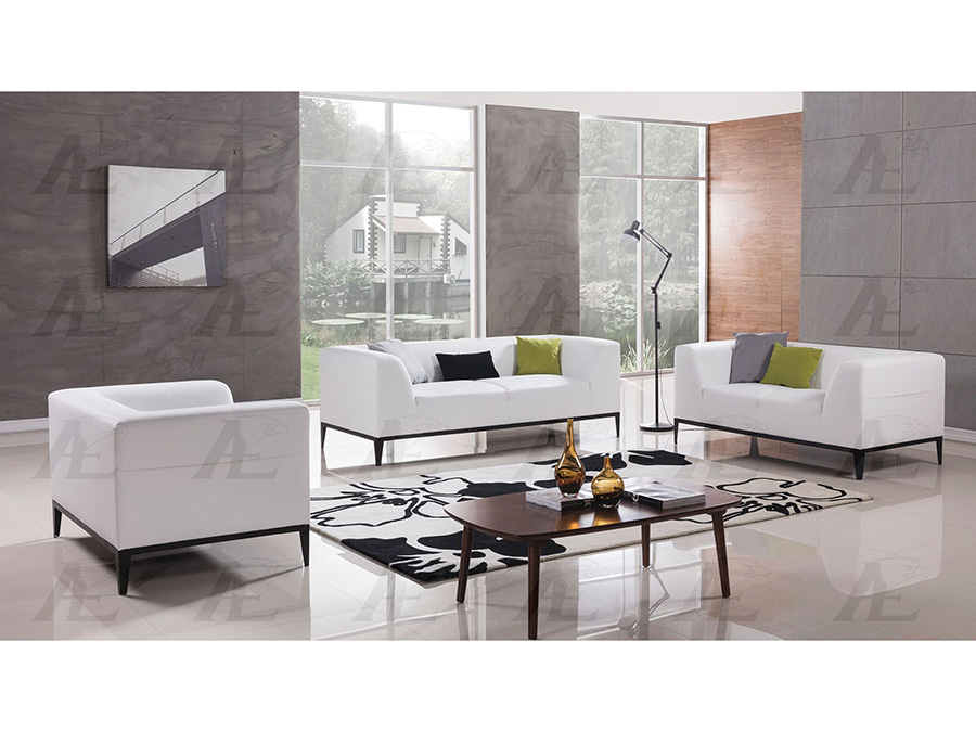 White Faux Leather Sofa Set For