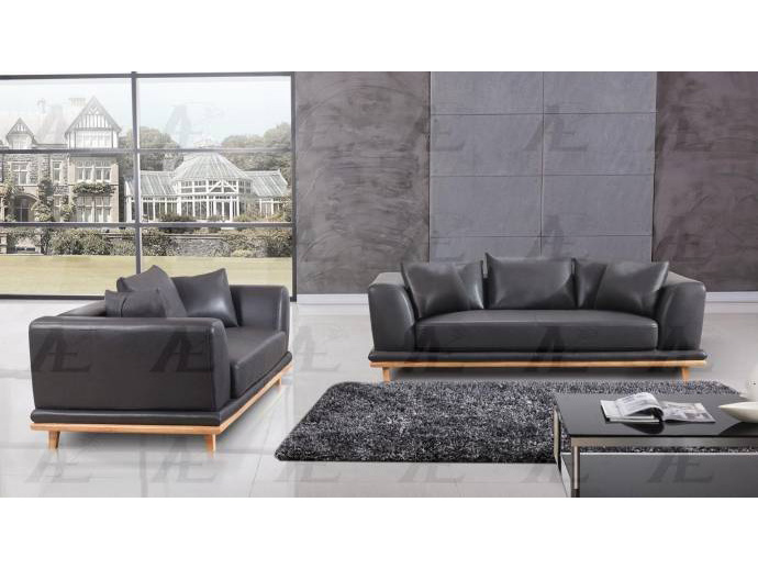 3Pcs Dark Gray Leather Air Fabric Sofa Set - Shop for Affordable ...