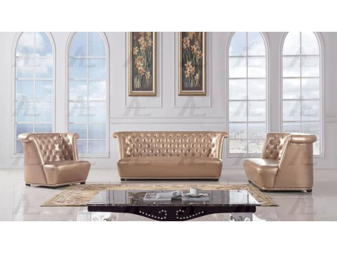 Wondrous 3Pcs Rose Gold Faux Leather Sofa Set Pdpeps Interior Chair Design Pdpepsorg