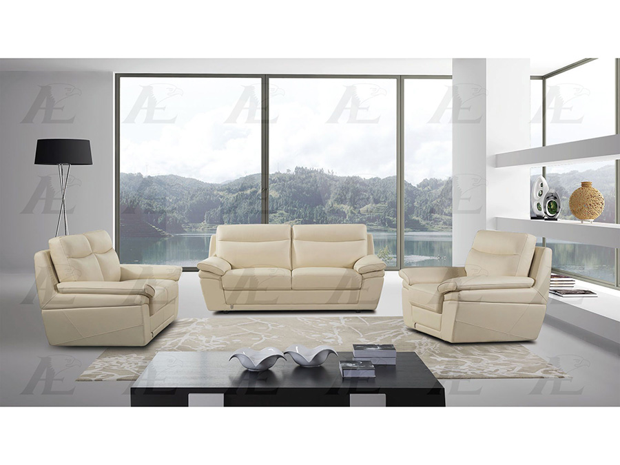 Cream Leather Sofa Set For